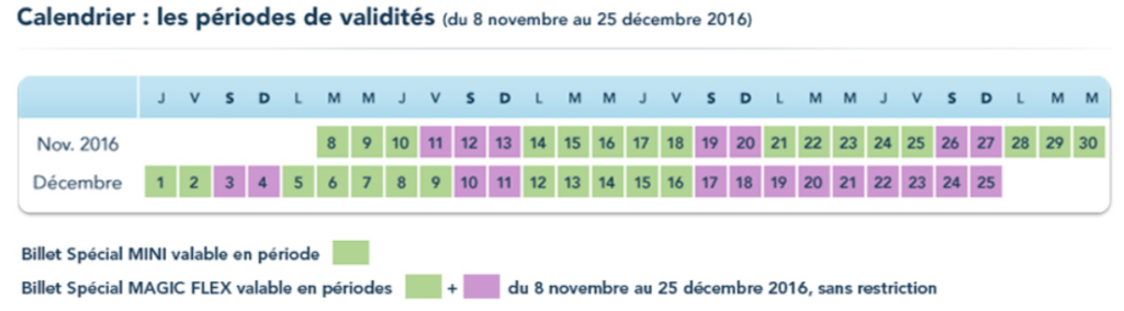 Calendrier prix billets disneyland paris Noël