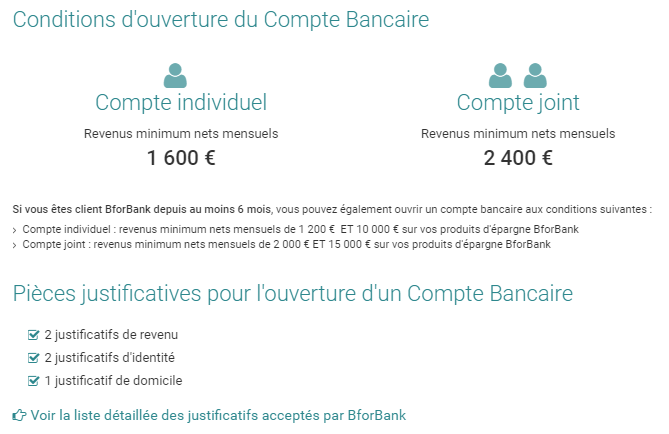 conditions compte BforBank
