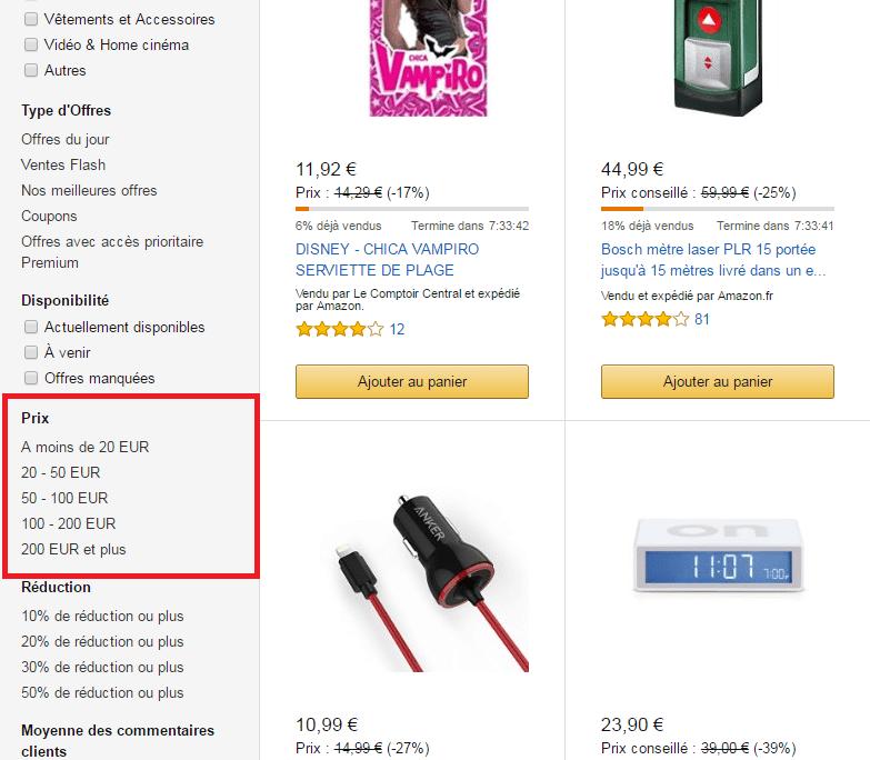 Tri par prix sur Amazon