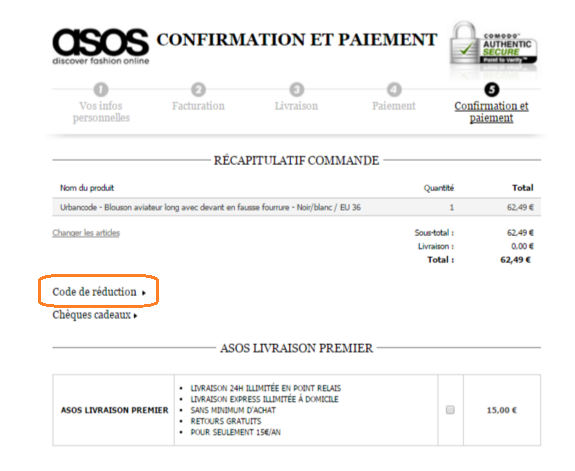confirmation asos