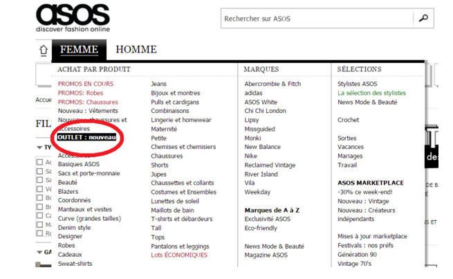 La Page Outlet d'Asos : pour des produits moins chers