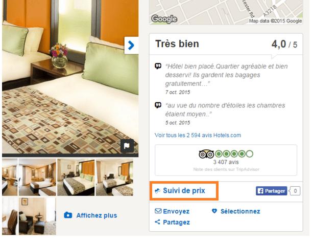 suivi des prix hotels.com