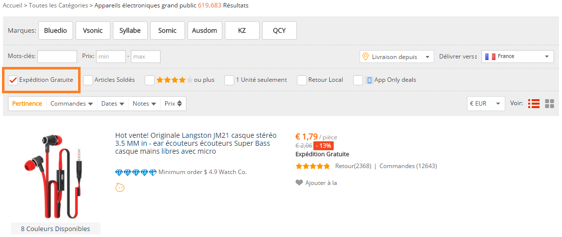Expedition gratuite aliexpress