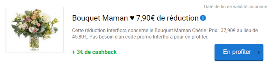 Réduction bouquet interflora maman