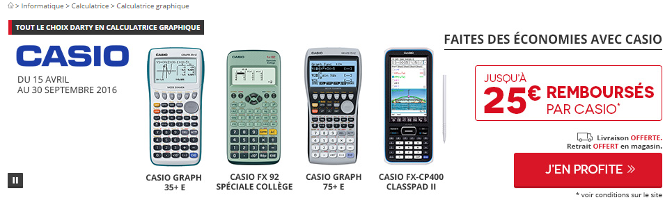 Promo calculatrices Darty