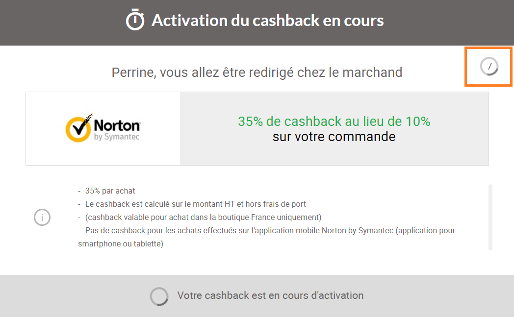 activation du cashback