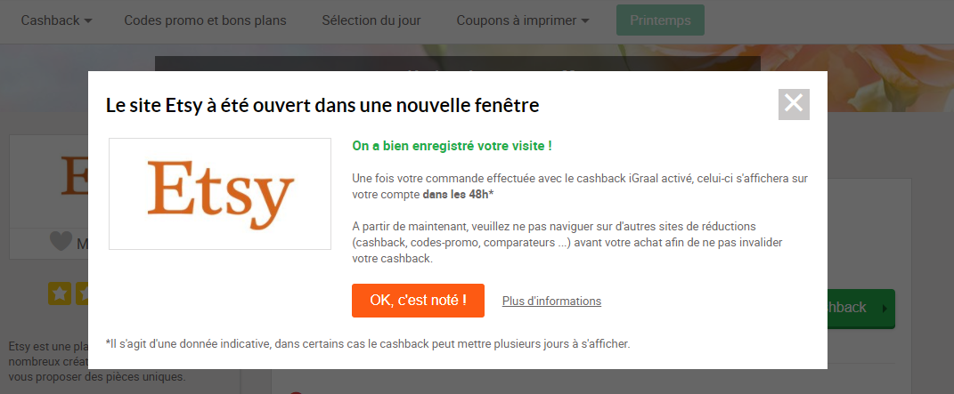 Confirmation du cashback