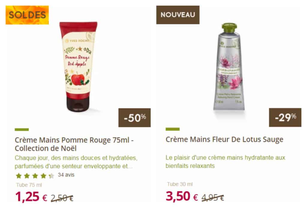 Promo crème mains hiver Yves Rocher