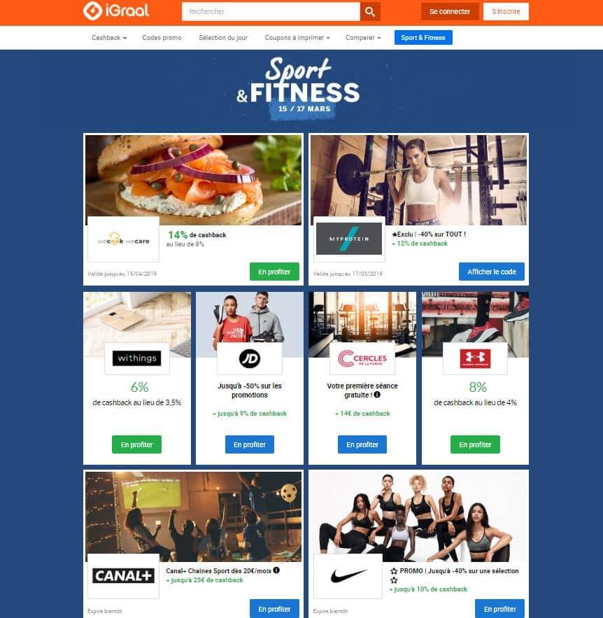 Offres de l'opé Sport et Fitness sur le site iGraal
