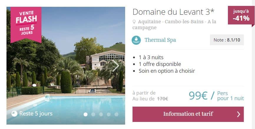 Exemple de promotion pour un séjour themal et spa issu du site thalasseo.com