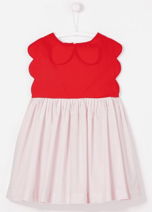Robe en coton pour petite fille de la marque Jacadi avec haut rouge et jupe rose.