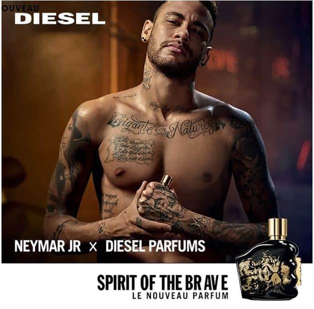 Nouvelle Eau de toilette Spirit of the Brave de la marque Diesel avec le footballeur brésilien Neymar.