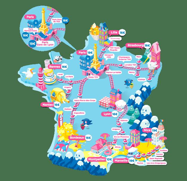 Cartes de l'ensemble des destinations desservies par les TGV Ouigo.